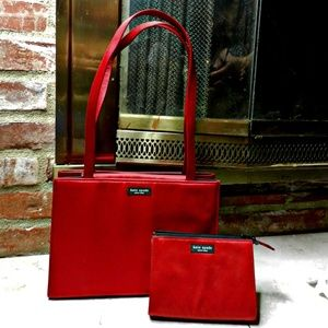 Kate Spade Sam Box Red Silk Tote and Clutch set